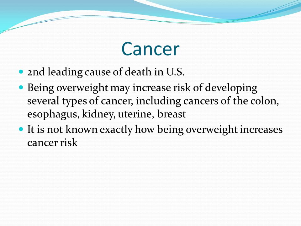 Cancer 2nd leading cause of death in U.S.