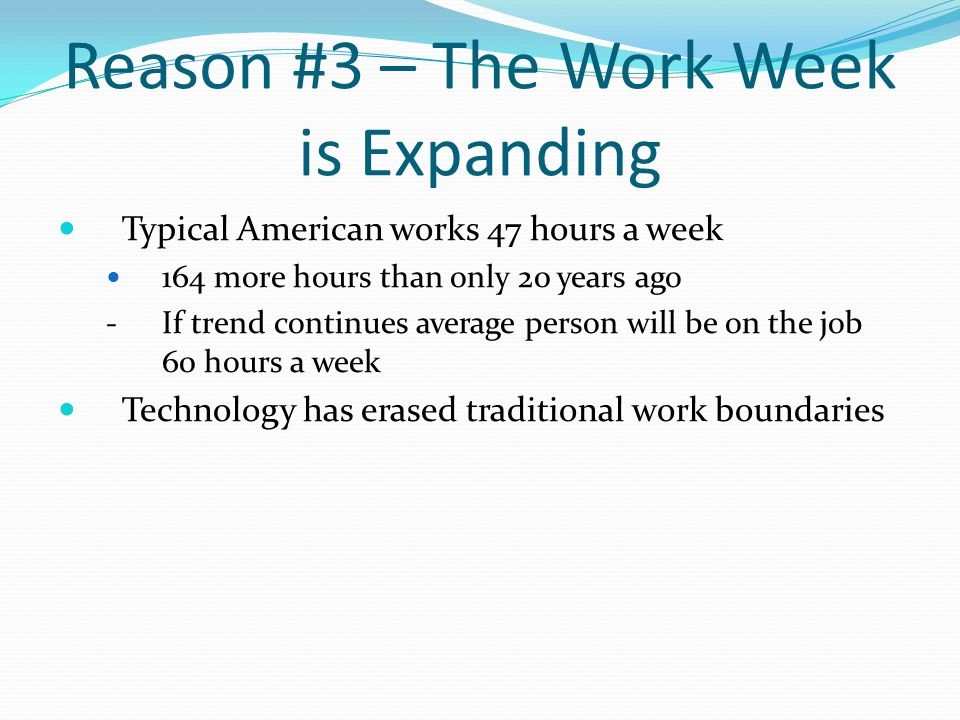 Reason #3 – The Work Week is Expanding
