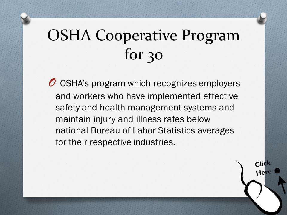 OSHA Cooperative Program for 30