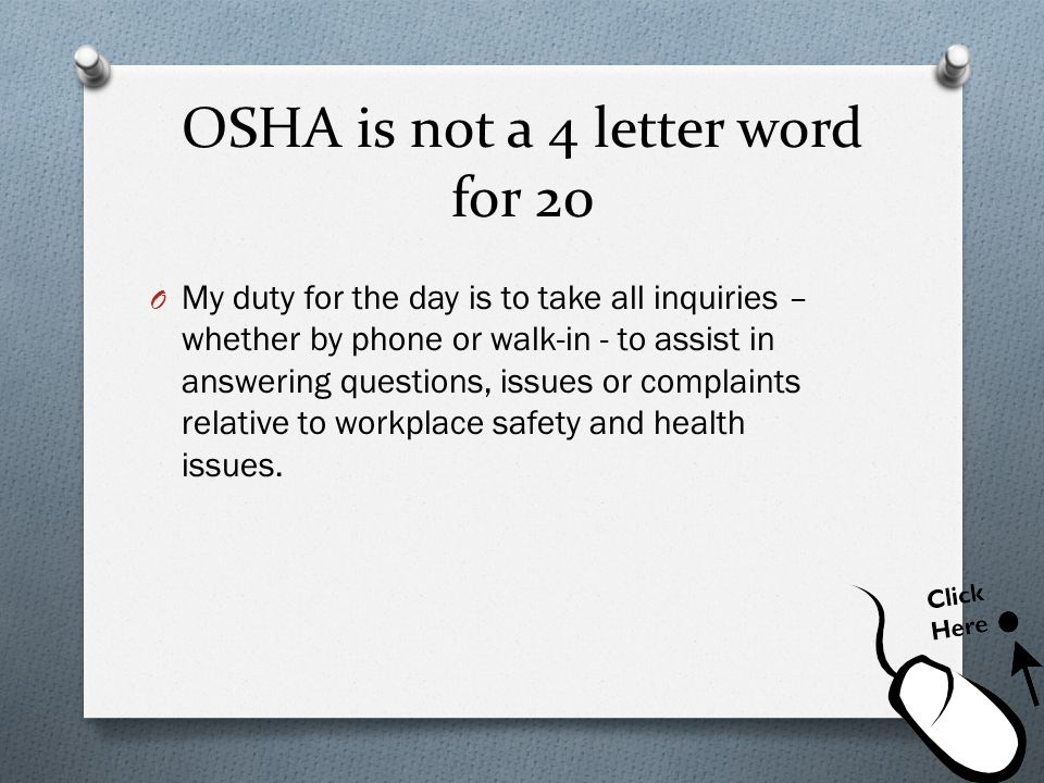 OSHA is not a 4 letter word for 20