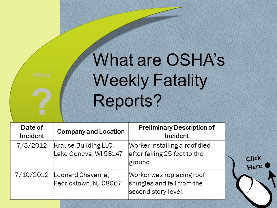 What are OSHA's Weekly Fatality Reports