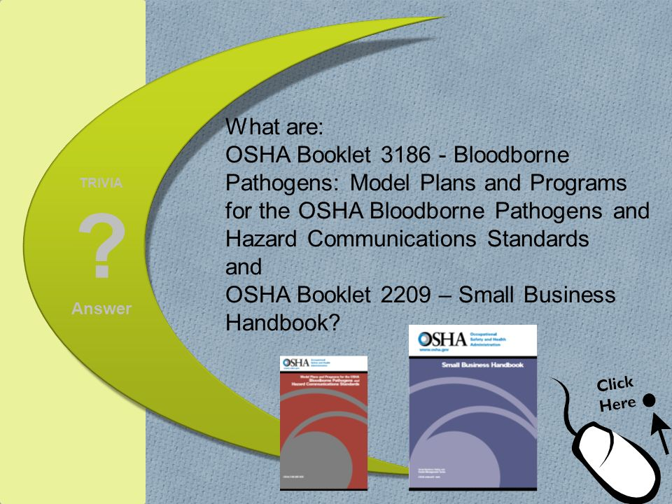 What are: OSHA Booklet Bloodborne Pathogens: Model Plans and Programs for the OSHA Bloodborne Pathogens and Hazard Communications Standards and OSHA Booklet 2209 – Small Business Handbook