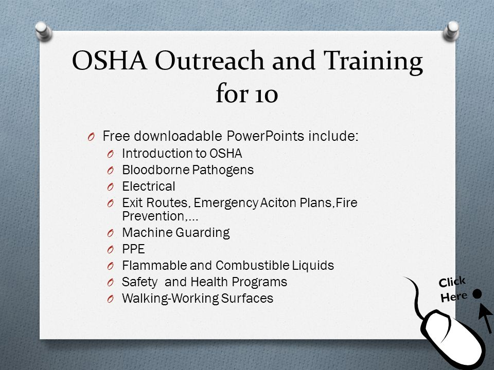 OSHA Outreach and Training for 10