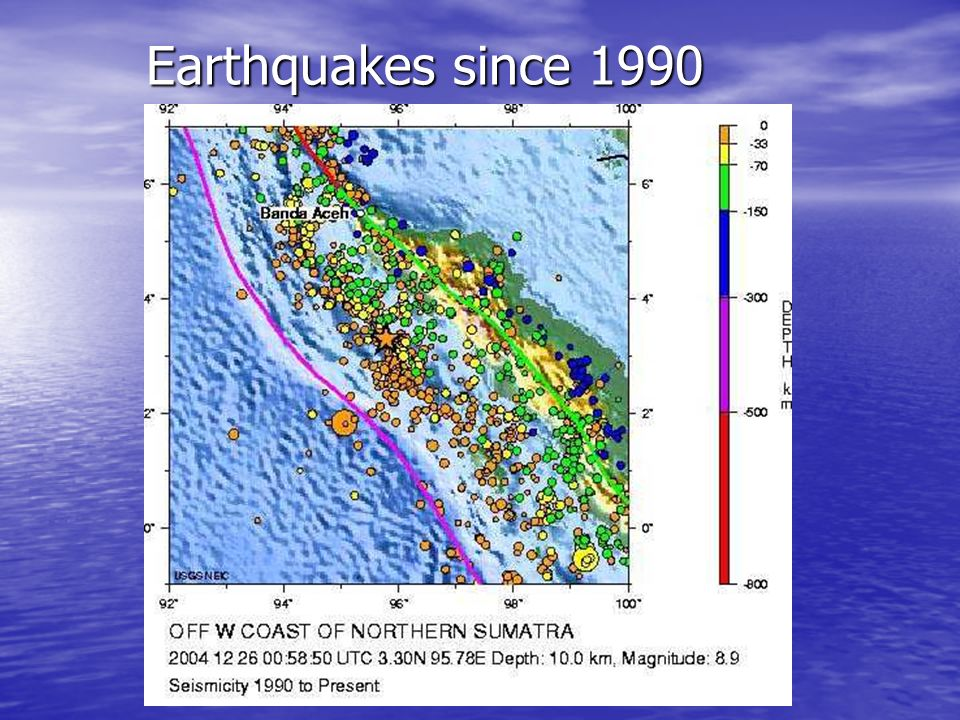 Earthquakes since 1990