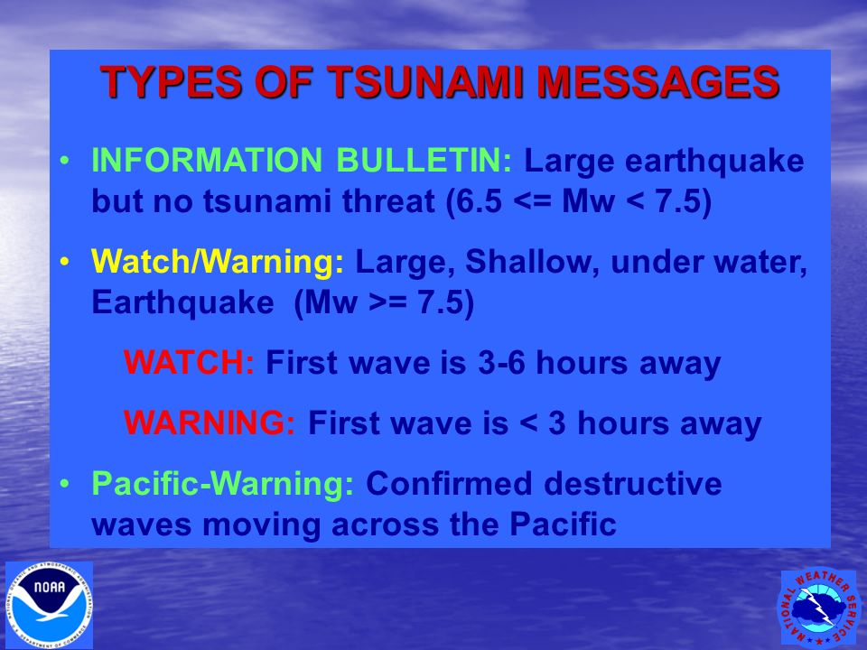 TYPES OF TSUNAMI MESSAGES