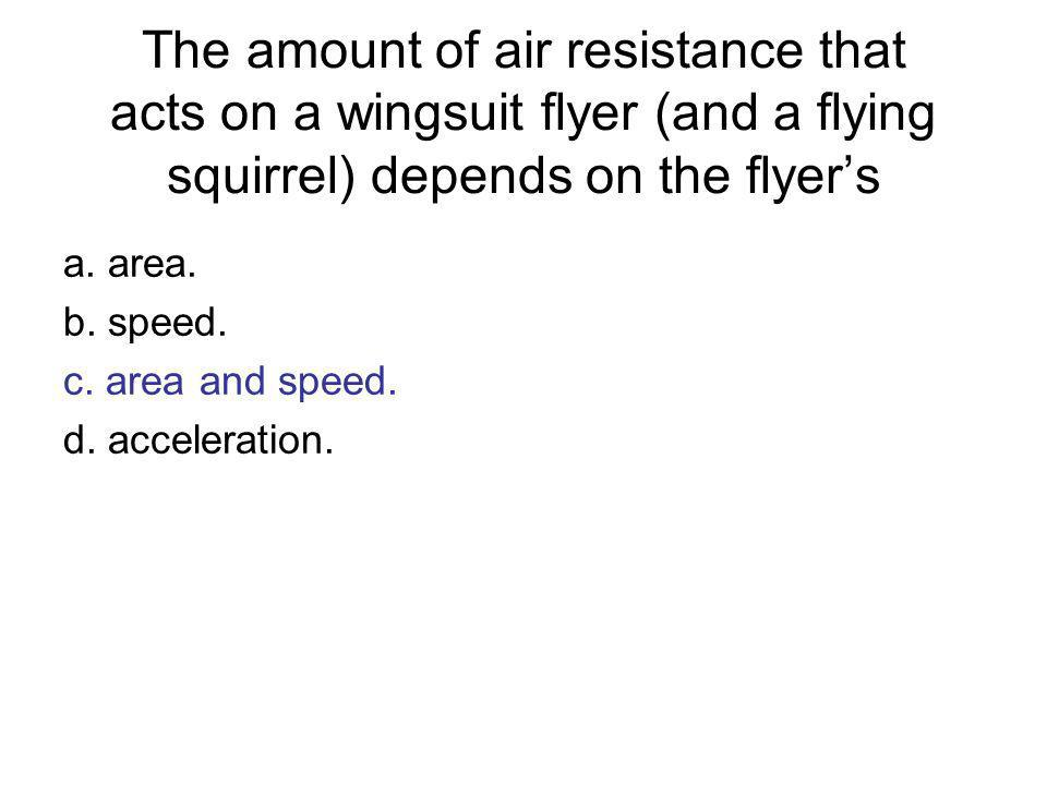 The amount of air resistance that acts on a wingsuit flyer (and a flying squirrel) depends on the flyer's