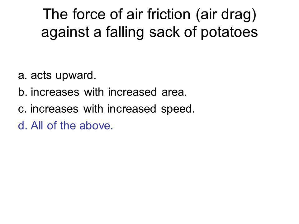 The force of air friction (air drag) against a falling sack of potatoes