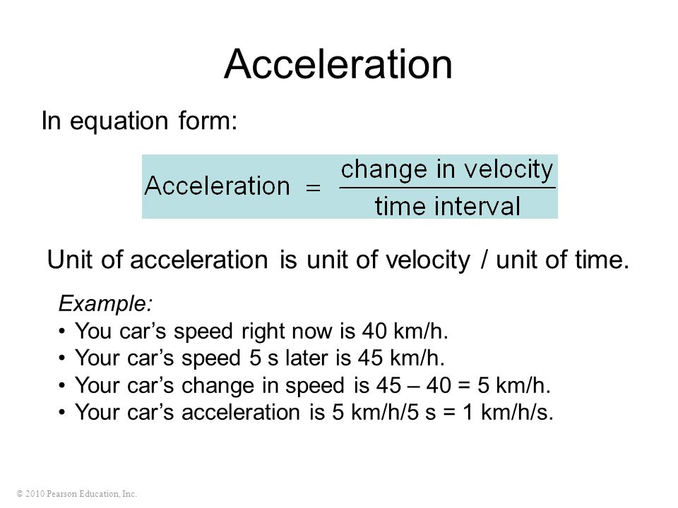 Acceleration In equation form: