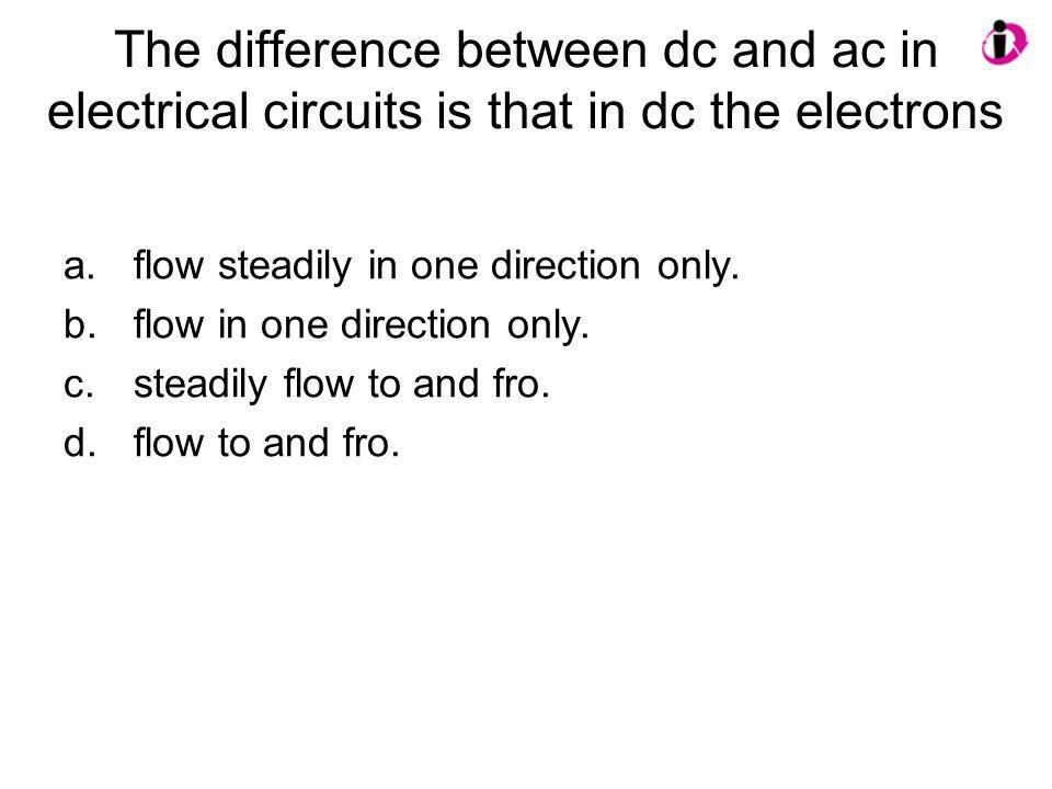 The difference between dc and ac in electrical circuits is that in dc the electrons
