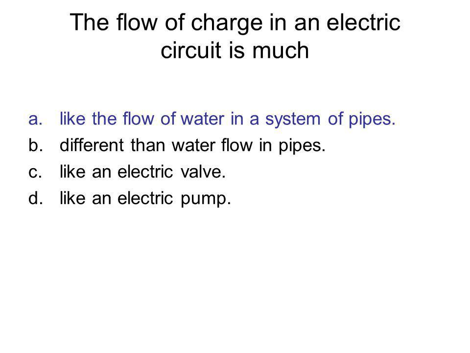 The flow of charge in an electric circuit is much