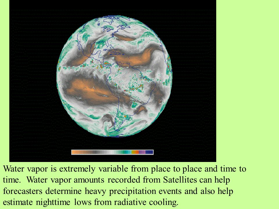 Water vapor is extremely variable from place to place and time to time