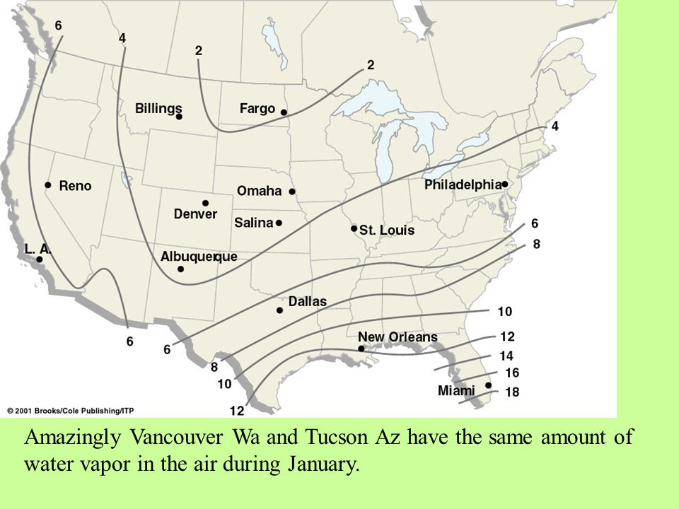 Amazingly Vancouver Wa and Tucson Az have the same amount of water vapor in the air during January.