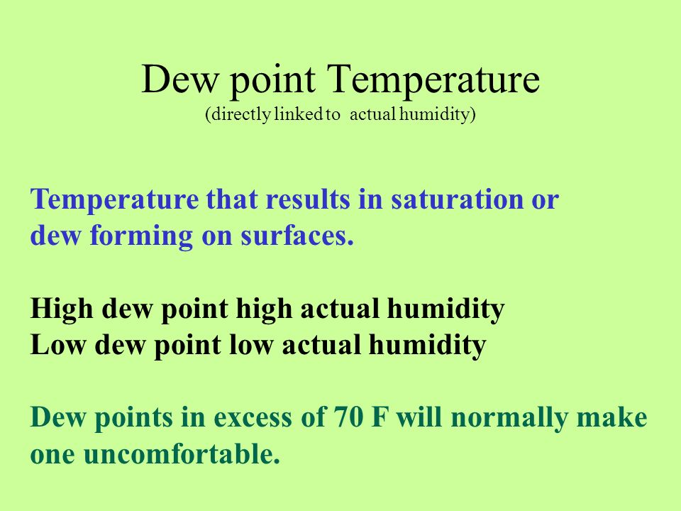 Dew point Temperature (directly linked to actual humidity)
