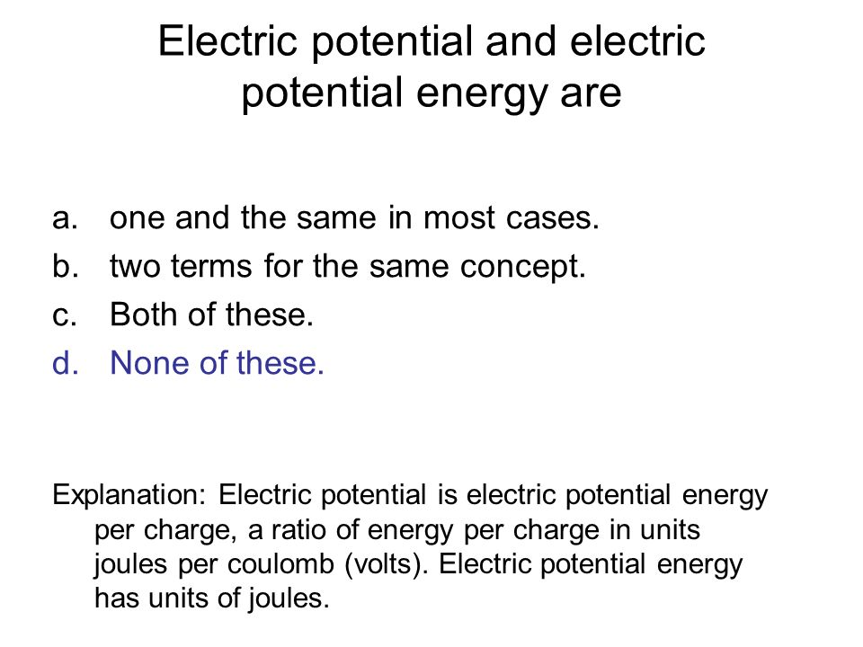 Electric potential and electric potential energy are