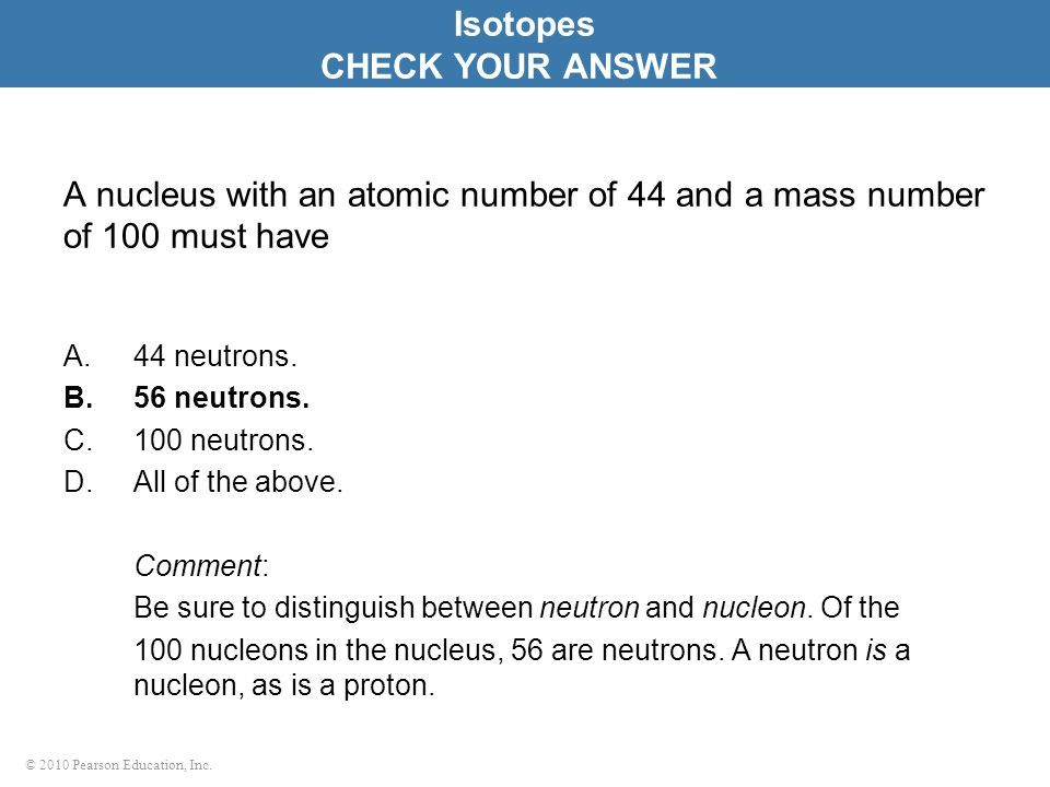 Isotopes CHECK YOUR ANSWER