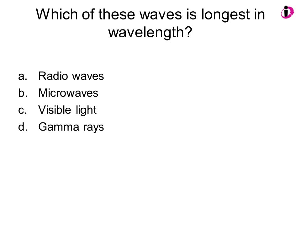 Which of these waves is longest in wavelength