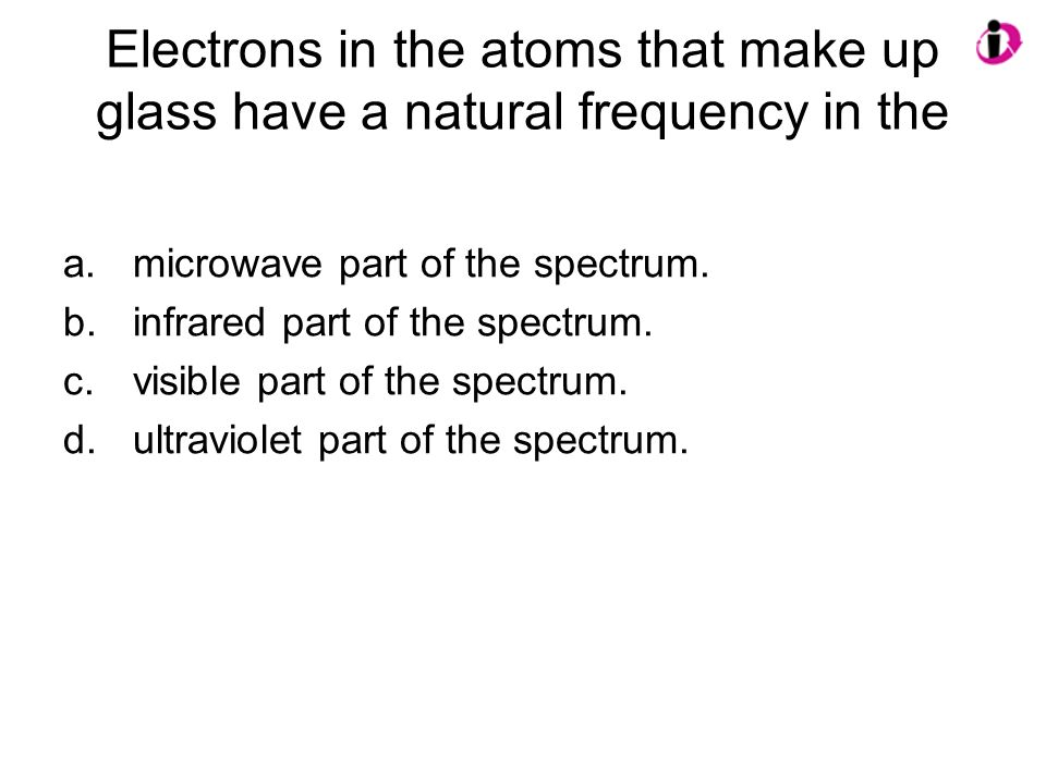 Electrons in the atoms that make up glass have a natural frequency in the