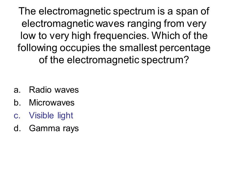 The electromagnetic spectrum is a span of electromagnetic waves ranging from very low to very high frequencies. Which of the following occupies the smallest percentage of the electromagnetic spectrum