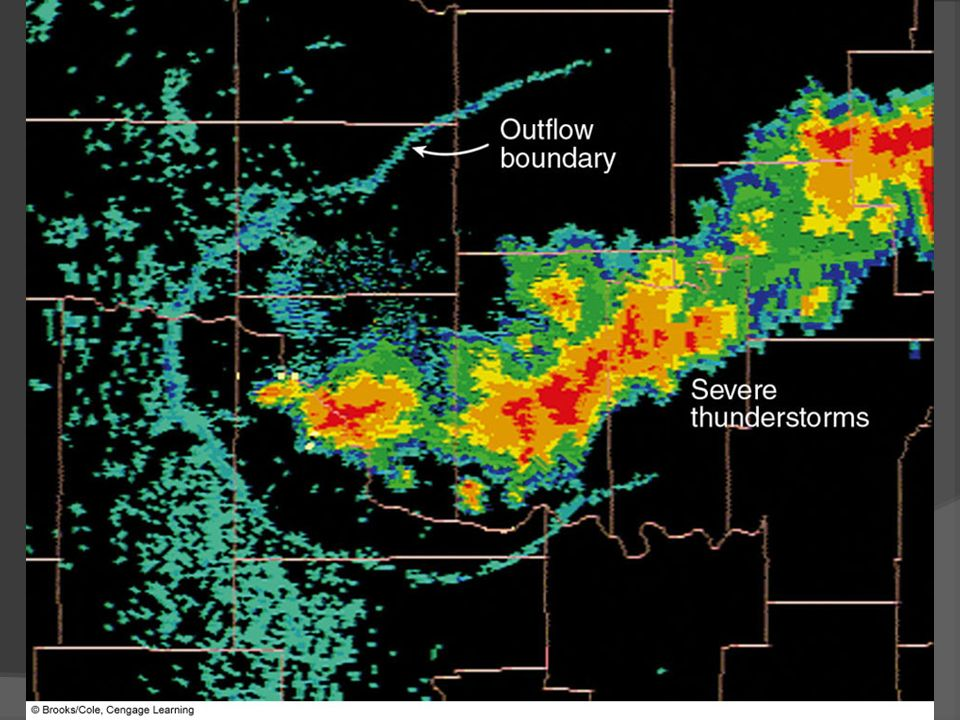 FIGURE 14.9 Radar image of an outflow boundary. As cool