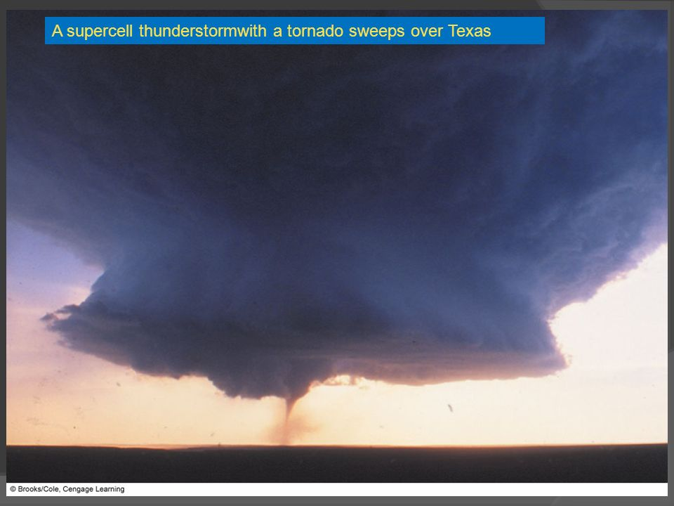A supercell thunderstormwith a tornado sweeps over Texas