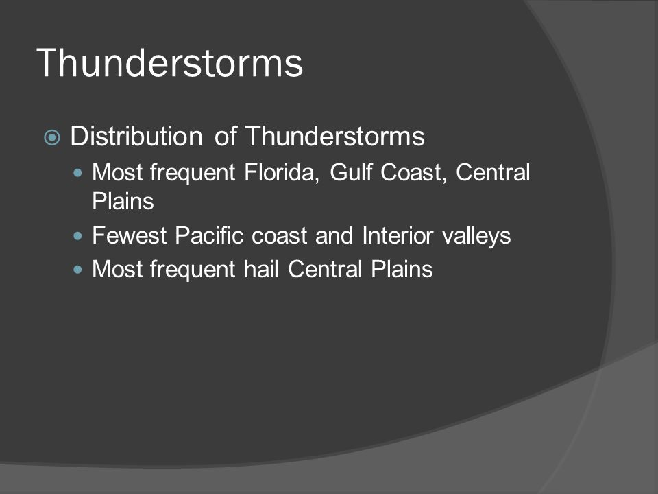 Thunderstorms Distribution of Thunderstorms