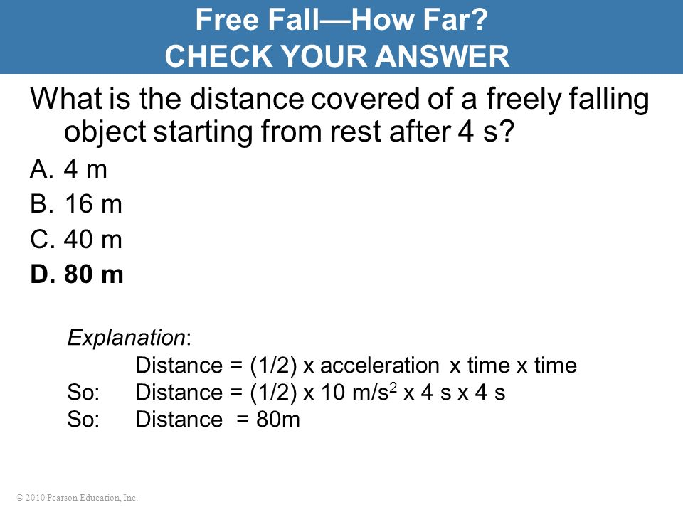 Free Fall—How Far CHECK YOUR ANSWER