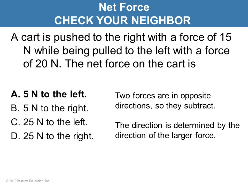 Net Force CHECK YOUR NEIGHBOR