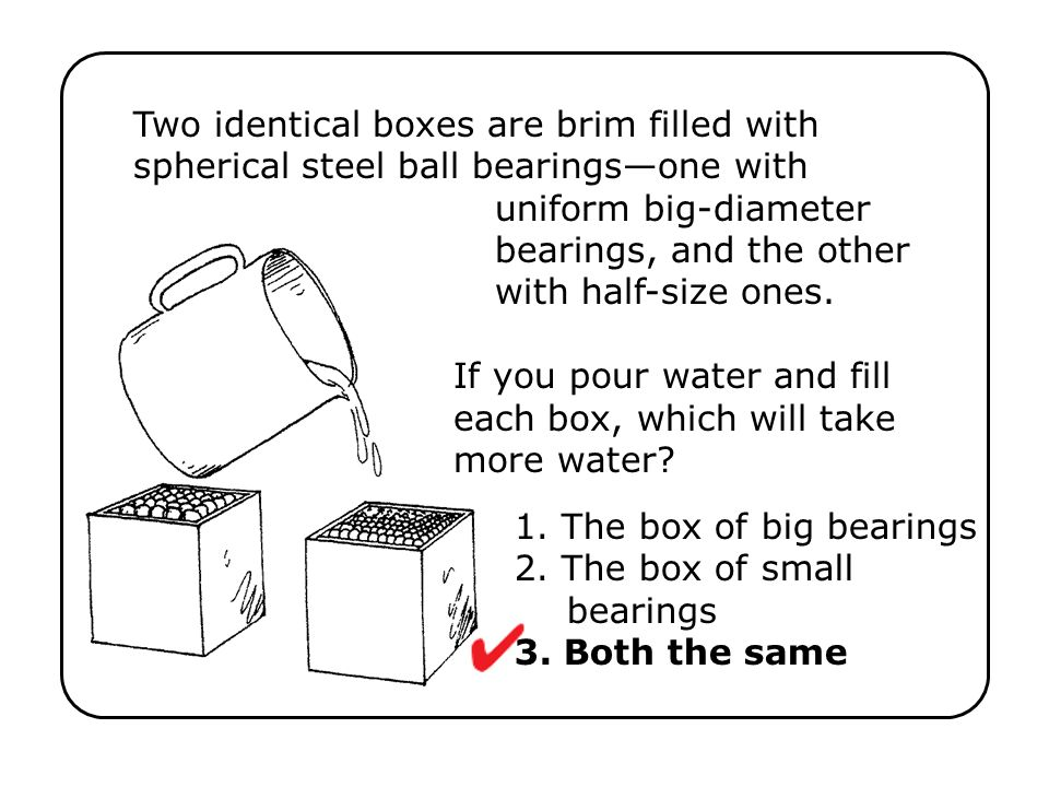 Two identical boxes are brim filled with spherical steel ball bearings—one with uniform big-diameter bearings, and the other with half-size ones. If you pour water and fill each box, which will take more water
