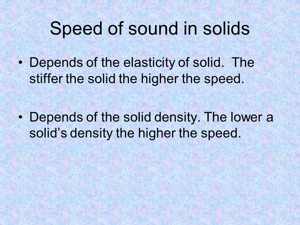 Speed of sound in solids