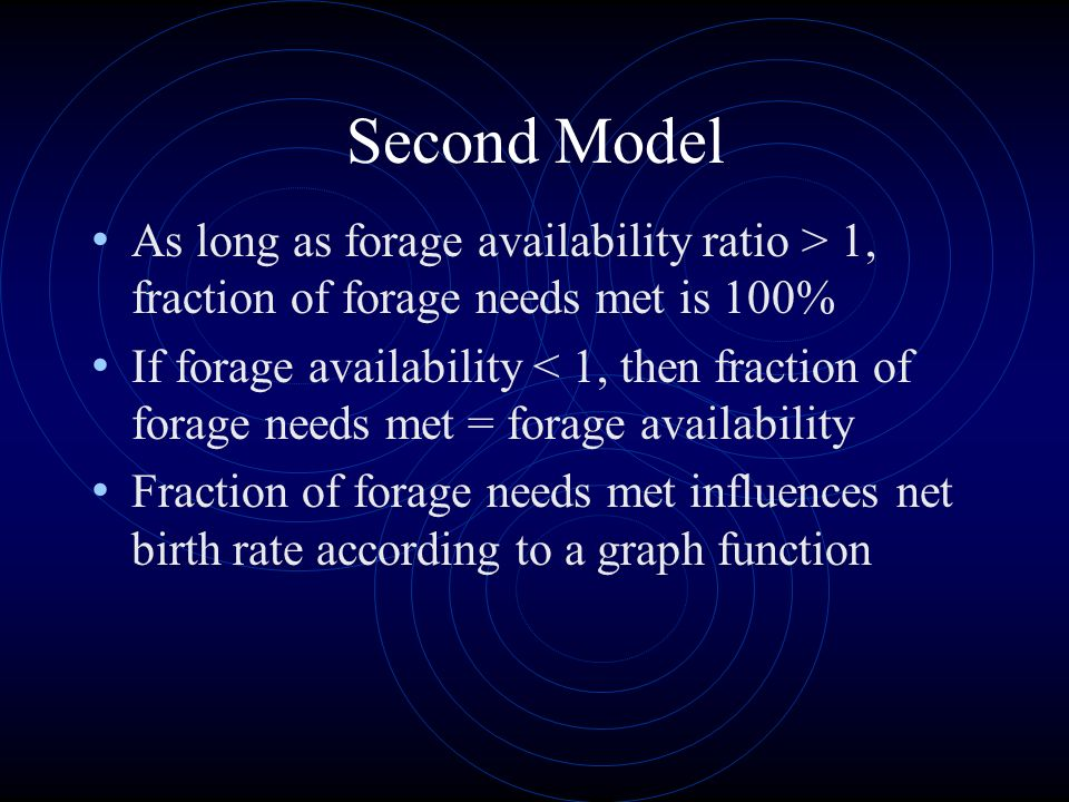 Second Model As long as forage availability ratio > 1, fraction of forage needs met is 100%