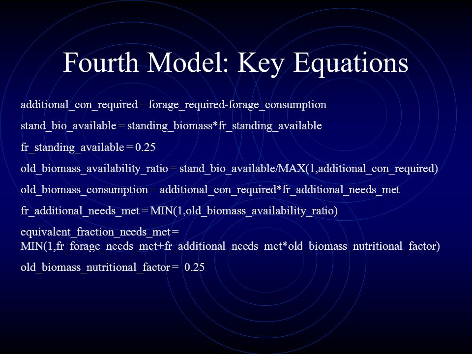 Fourth Model: Key Equations