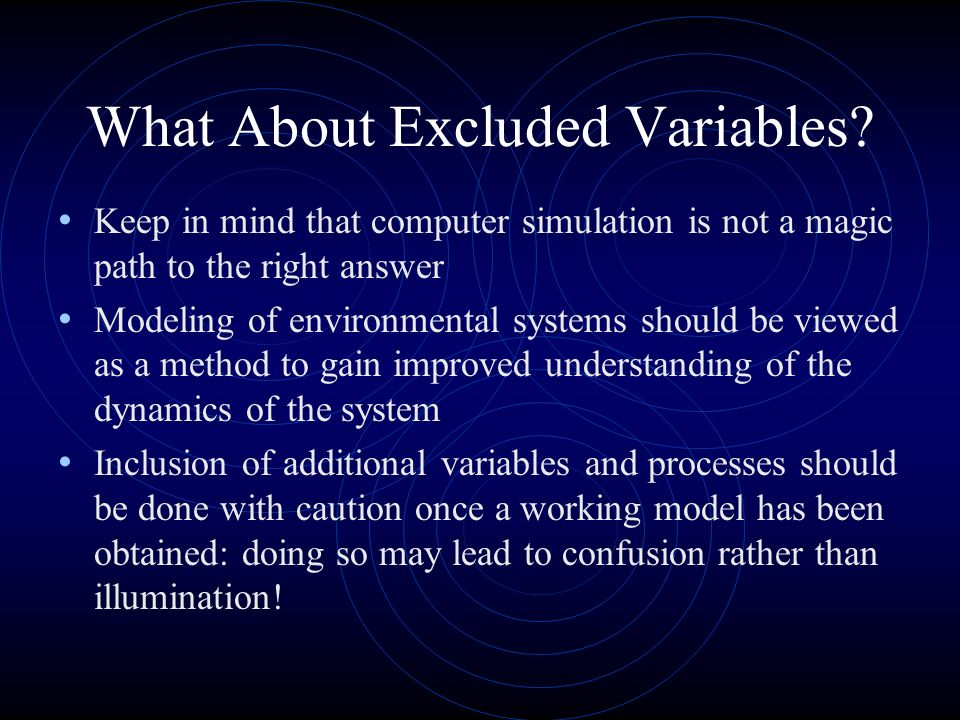 What About Excluded Variables