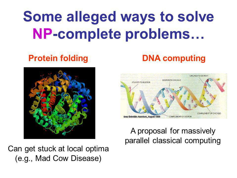 Some alleged ways to solve NP-complete problems…