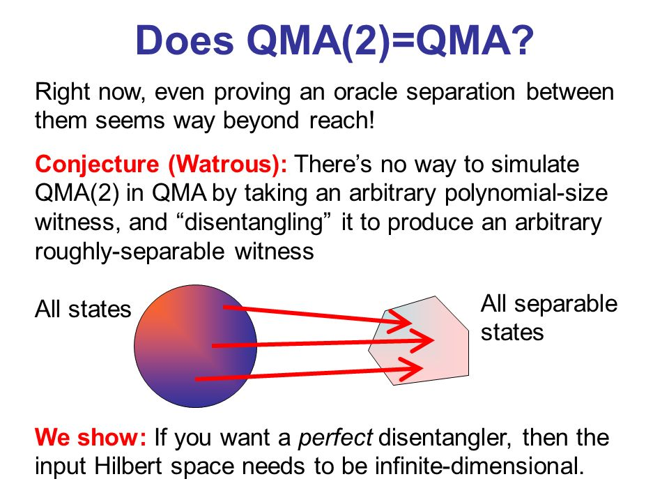 Does QMA(2)=QMA Right now, even proving an oracle separation between them seems way beyond reach!