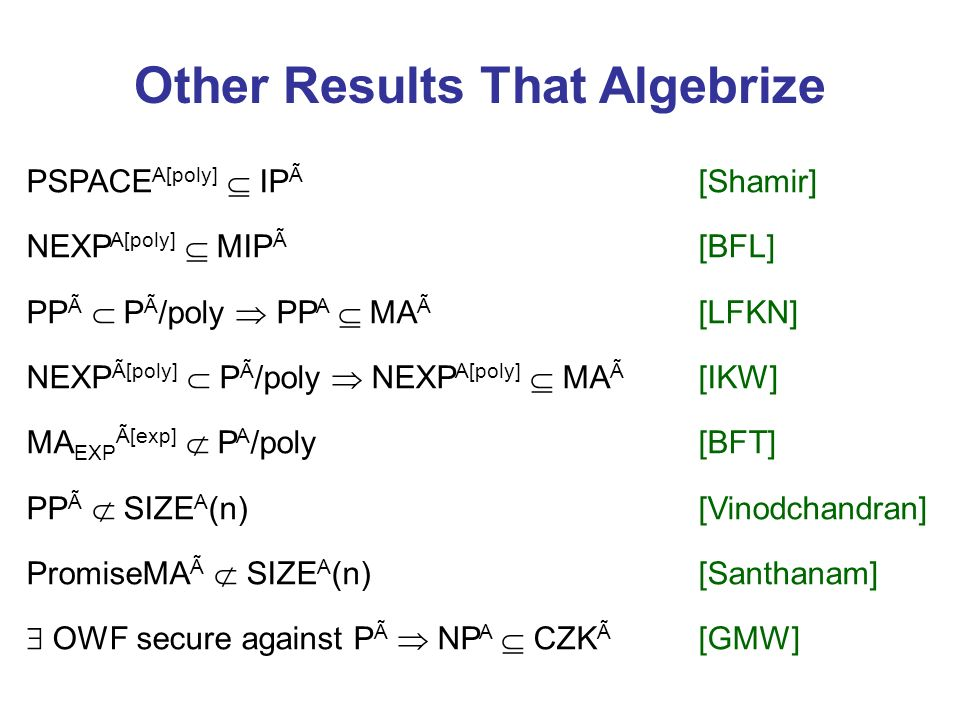 Other Results That Algebrize