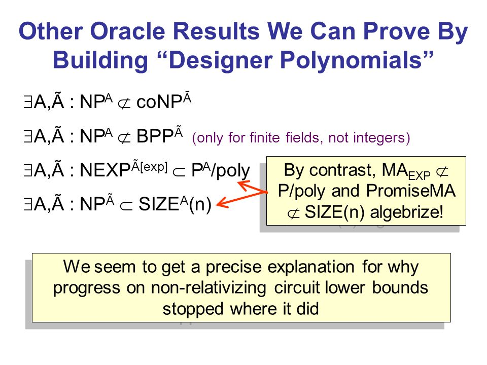 Other Oracle Results We Can Prove By Building Designer Polynomials