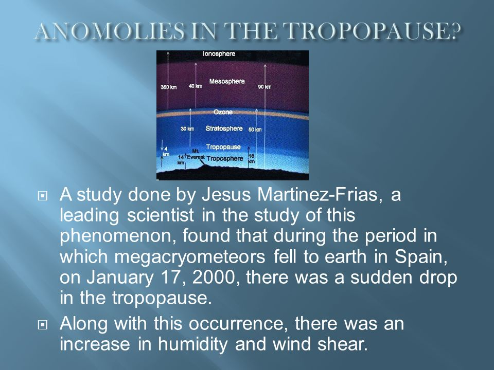 ANOMOLIES IN THE TROPOPAUSE