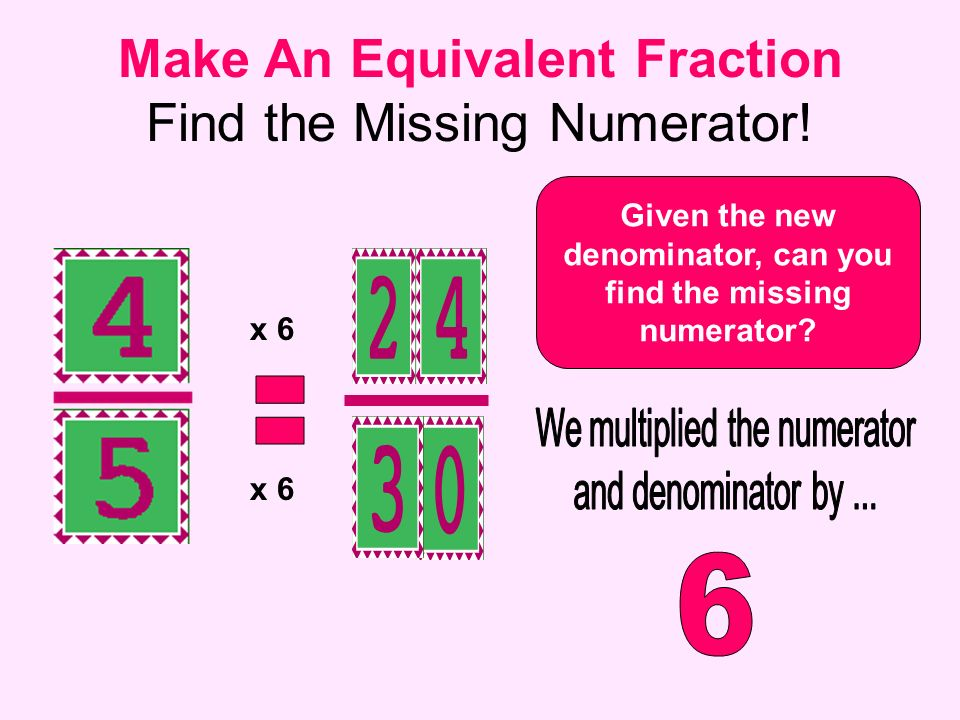 Make An Equivalent Fraction Find the Missing Numerator!