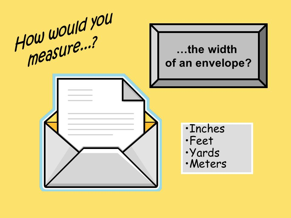 How would you measure... …the width of an envelope Inches Feet Yards Meters