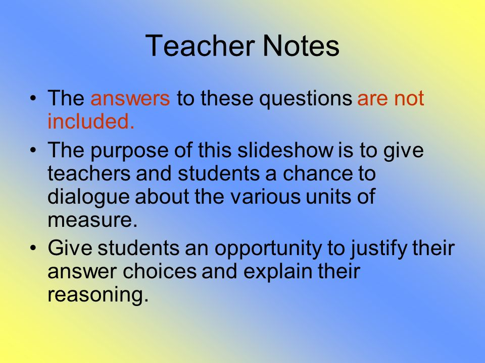 Teacher Notes The answers to these questions are not included.