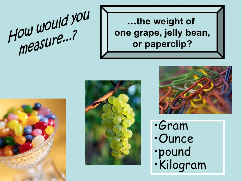 Gram Ounce pound Kilogram How would you measure... …the weight of