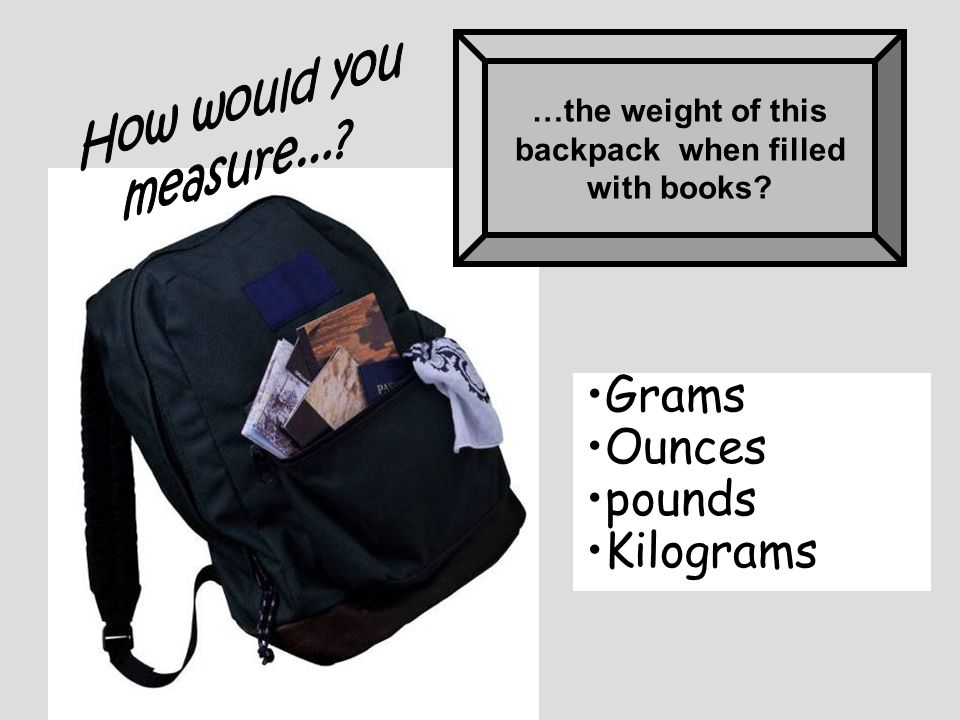 Grams Ounces pounds Kilograms How would you measure...