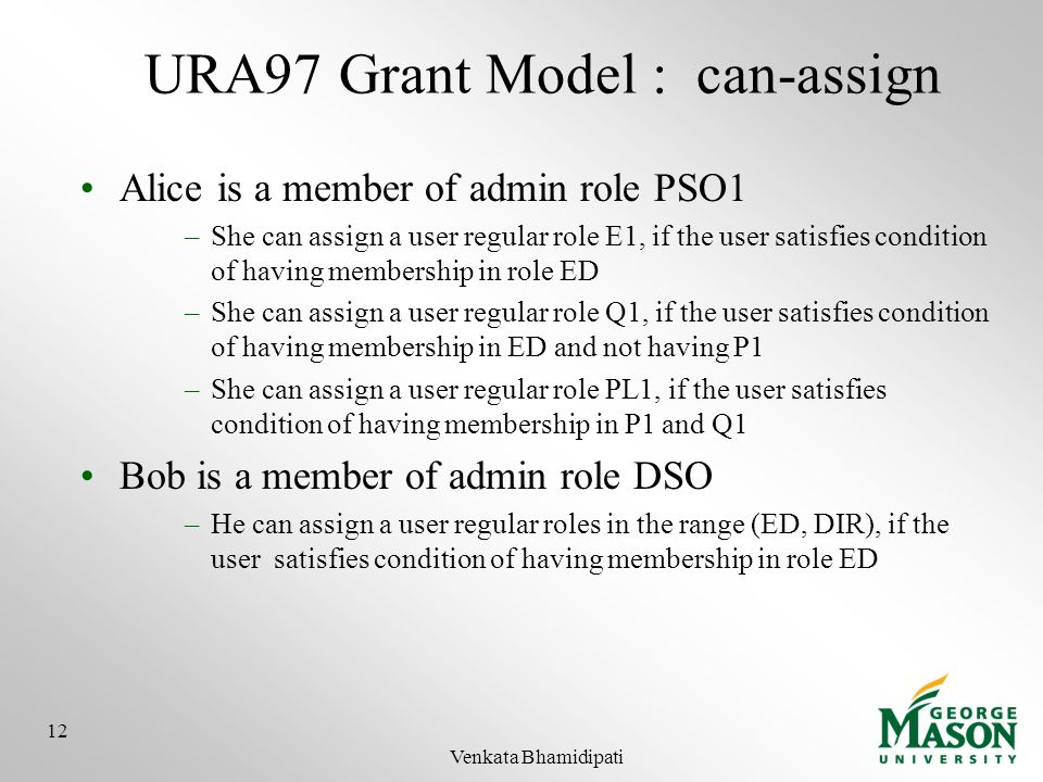URA97 Grant Model : can-assign