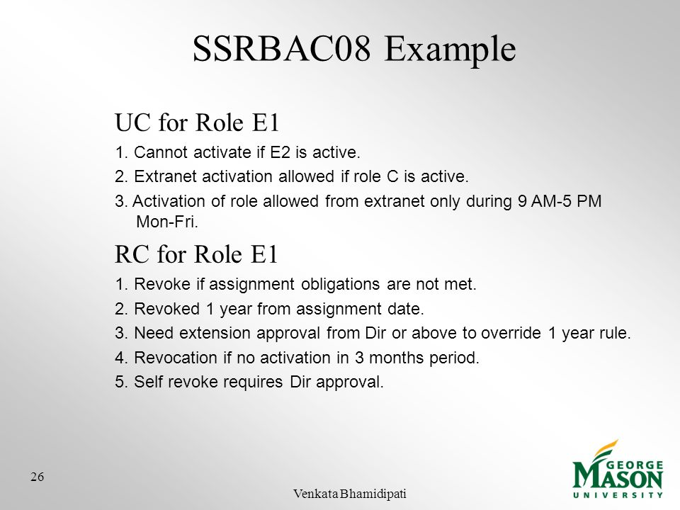 SSRBAC08 Example UC for Role E1 RC for Role E1