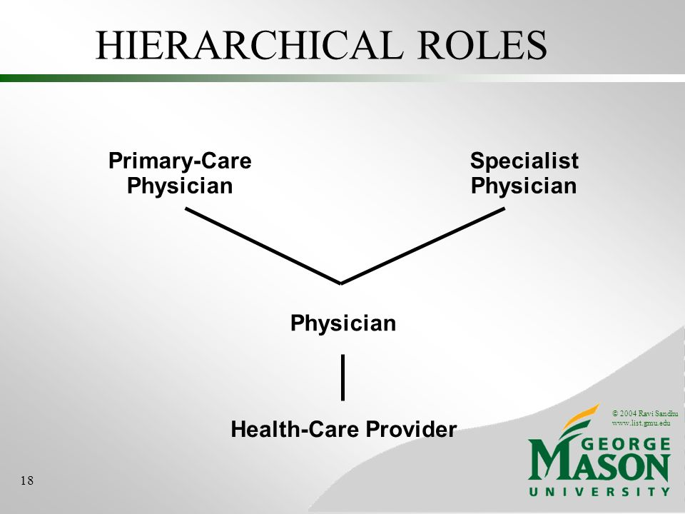 HIERARCHICAL ROLES Primary-Care Physician Specialist Physician