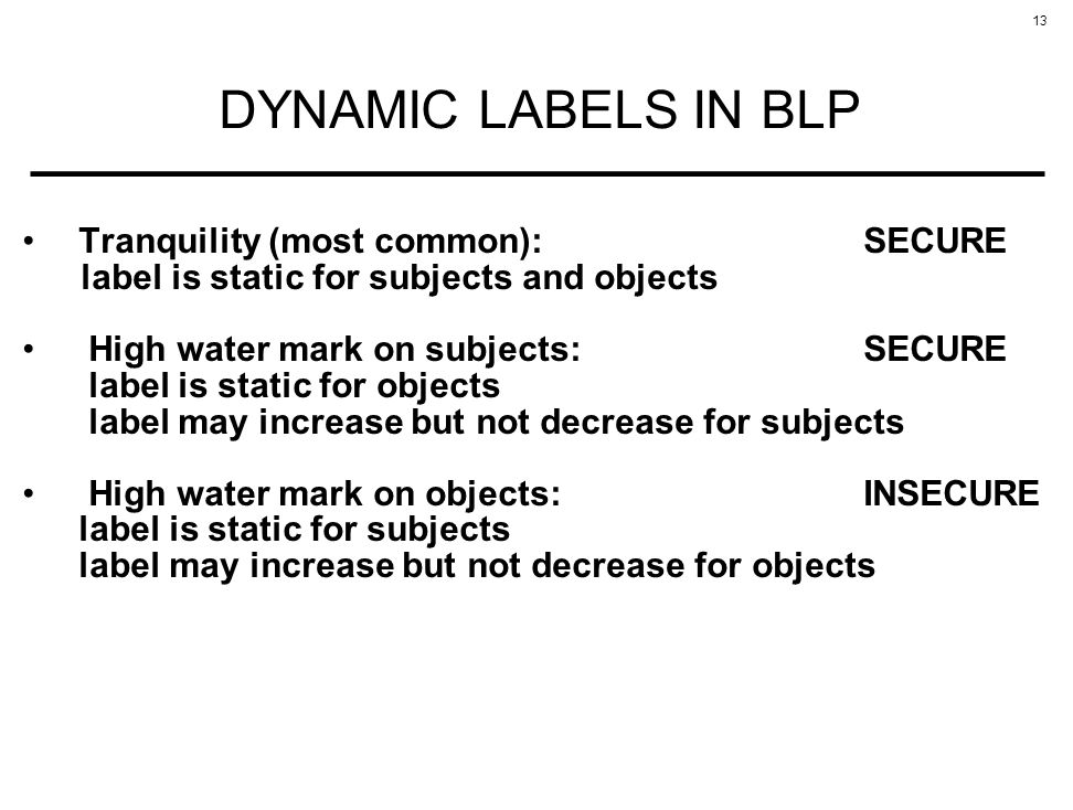 DYNAMIC LABELS IN BLP Tranquility (most common): SECURE