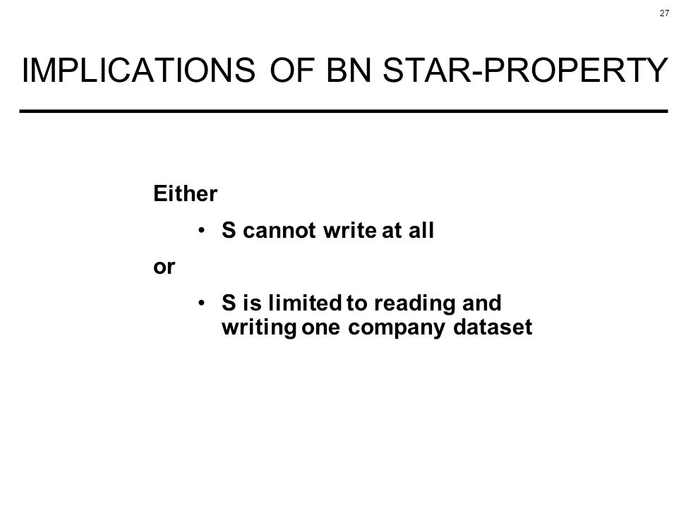 IMPLICATIONS OF BN STAR-PROPERTY