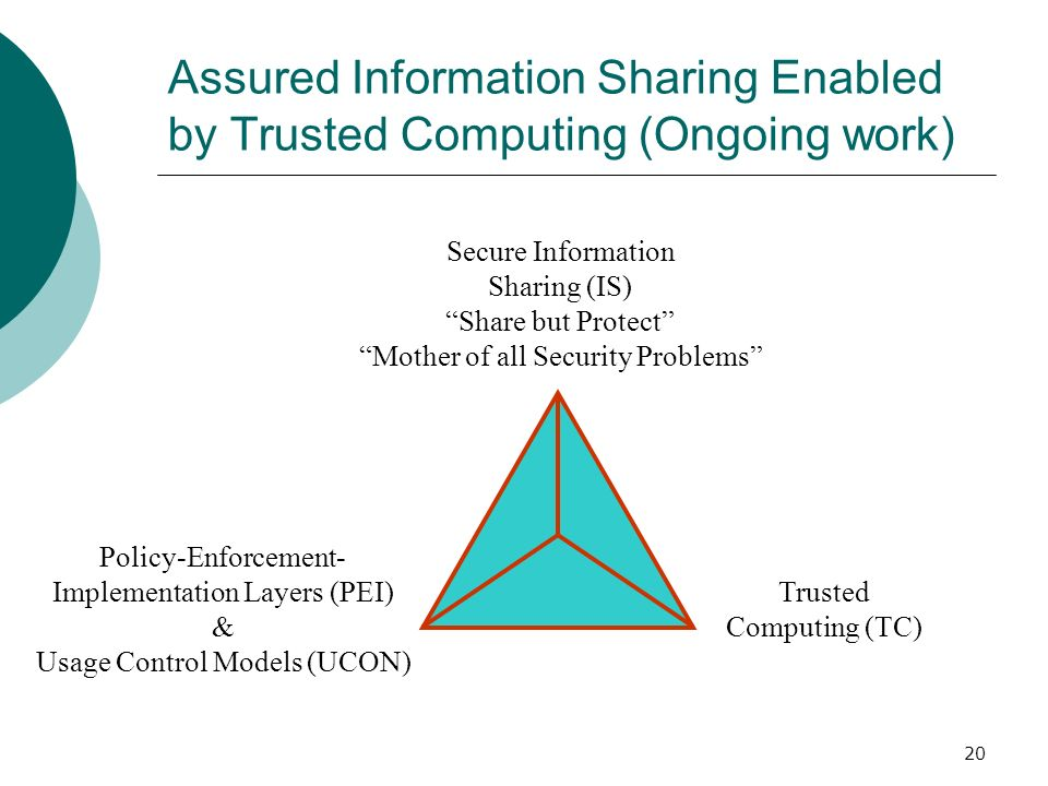 Assured Information Sharing Enabled by Trusted Computing (Ongoing work)