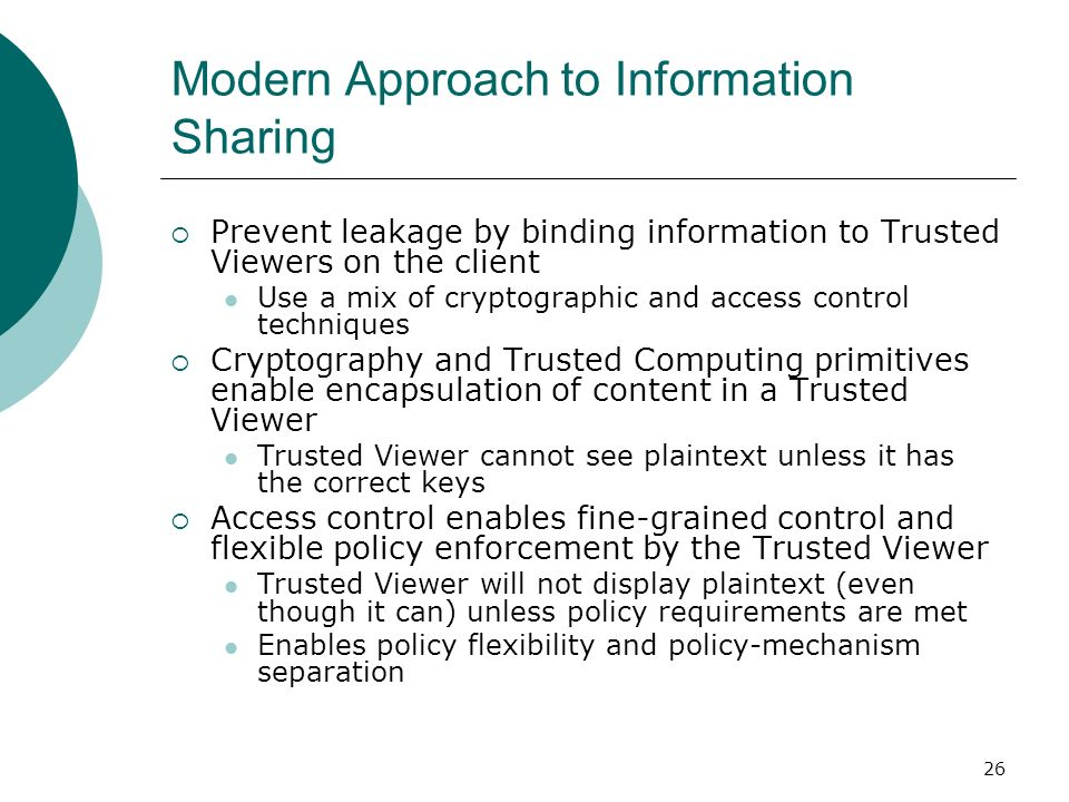 Modern Approach to Information Sharing