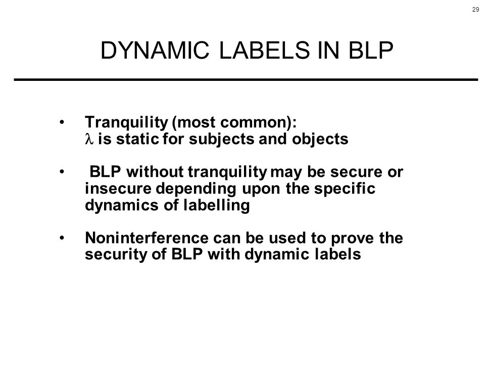 DYNAMIC LABELS IN BLP Tranquility (most common):